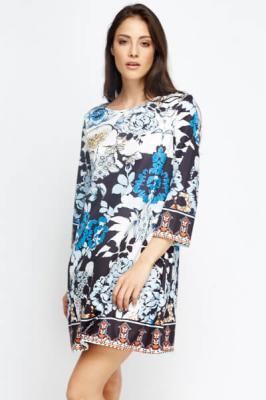 Contrast Floral A-Line Dress