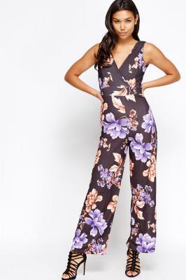 Plunge Floral Wide Leg Jumpsuit